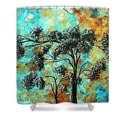 Abstract Art Landscape Metallic Gold Textured Painting Spring Blooms II By Madart Shower Curtain