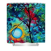 Abstract Art Landscape Tree Blossoms Sea Painting Under The Light Of The Moon I  By Madart Shower Curtain