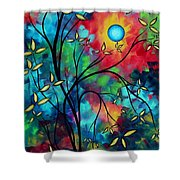 Abstract Art Landscape Tree Blossoms Sea Painting Under The Light Of The Moon II By Madart Shower Curtain