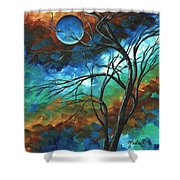 Abstract Art Original Colorful Painting Mystery Of The Moon By Madart Shower Curtain
