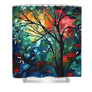 Abstract Art Original Colorful Painting Spring Blossoms By Madart Shower Curtain