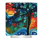 Abstract Art Original Landscape Colorful Painting First Snow Fall By Madart Shower Curtain