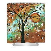 Abstract Art Original Landscape Painting Bold Circle Of Life Design Autumns Eve By Madart Shower Curtain