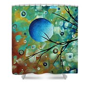 Abstract Art Original Landscape Painting Colorful Circles Morning Blues I By Madart Shower Curtain