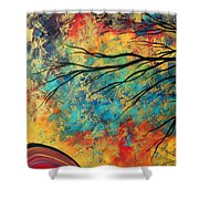 Abstract Art Original Landscape Painting Go Forth I By Madart Studios Shower Curtain