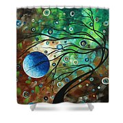 Abstract Art Original Landscape Painting Mint Julep By Madart Shower Curtain