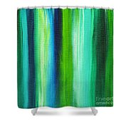 Abstract Art Original Textured Soothing Painting Sea Of Whimsy Stripes I By Madart Shower Curtain by Megan Duncanson