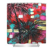 Abstract Art Original Tropical Landscape Painting Fun In The Tropics By Madart Shower Curtain by Megan Duncanson