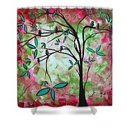 Abstract Art Original Whimsical Magical Bird Painting Through The Looking Glass  Shower Curtain