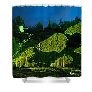 Abstract Art Projection Over Night Nature Scenery Shower Curtain