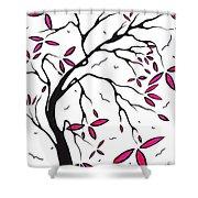 Abstract Artwork Modern Original Landscape Pink Blossom Tree Art Pink Foliage By Madart Shower Curtain by Megan Duncanson
