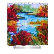Abstract - Autumn Blaze On Catskill Creek Shower Curtain