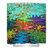 Abstract Background With Bright Colored Waves 1 Shower Curtain