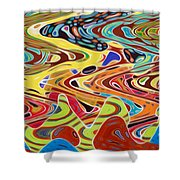 Abstract Background With Bright Colored Waves 17 Shower Curtain