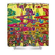 Abstract Background With Bright Colored Waves 5 Shower Curtain