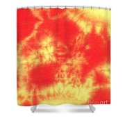 Abstract Batik In Yellow And Red Shades Shower Curtain