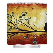 Abstract Bird Landscape Tree Blossoms Original Painting Family Of Three Shower Curtain