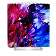 Abstract Blue And Pink Festival Shower Curtain by Andrea Anderegg