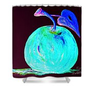 Abstract Blue And Teal Apple On Black Shower Curtain