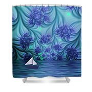 Abstract Blue World Shower Curtain
