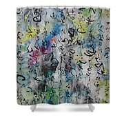 Abstract Calligraphy 00 Shower Curtain