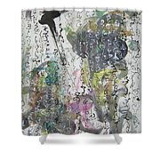 Abstract Calligraphy Art Painting Black Pink Green Gray Art Spring Color Painting Rice Paper Art Sjk Shower Curtain