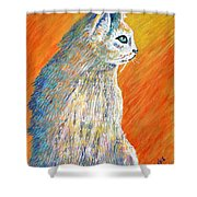 Jazzy Abstract Cat Shower Curtain