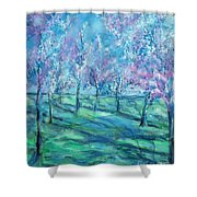 Abstract Cherry Trees Shower Curtain