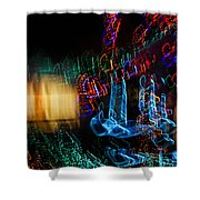 Abstract Christmas Lights - Color Twists And Swirls  Shower Curtain