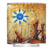Abstract City Cityscape Contemporary Art Original Painting The Lost City By Madart Shower Curtain