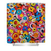 Abstract Colorful Flowers 1 - Paint Joy Series Shower Curtain