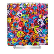 Abstract Colorful Flowers 3 - Paint Joy Series Shower Curtain