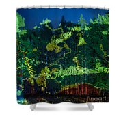 Abstract Colorful Light Projection On Trees Shower Curtain