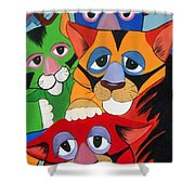 Abstract Colorful Sleepy Cats Shower Curtain