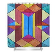 Abstract Colorful Stained Glass Window Design  Shower Curtain