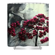 Abstract Contemporary Art Landscape Painting Modern Artwork Pink Passion By Madart Shower Curtain
