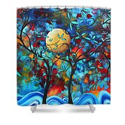 Abstract Contemporary Colorful Landscape Painting Lovers Moon By Madart Shower Curtain