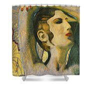 Abstract Cyprus Map And Aphrodite Shower Curtain
