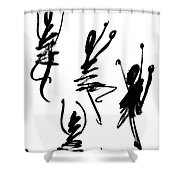 Abstract Dancers In Black And White Shower Curtain