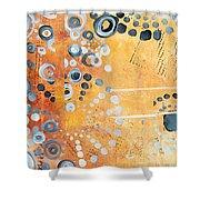 Abstract Decorative Art Original Circles Trendy Painting By Madart Studios Shower Curtain