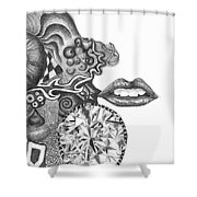 Abstract Drawing #1 - Young Woman Shower Curtain