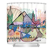 Abstract Drawing One Shower Curtain