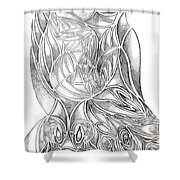 Abstract Drawing Owl Hands Roses Shower Curtain