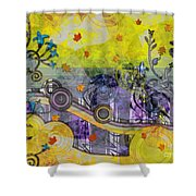 Abstract - Falling Leaves Shower Curtain