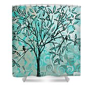 Abstract Floral Birds Landscape Painting Bird Haven II By Megan Duncanson Shower Curtain