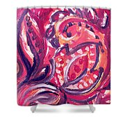 Abstract Floral Design Purple Note Shower Curtain