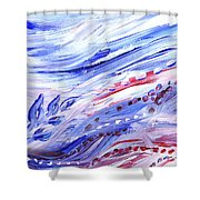 Abstract Floral Marble Waves Shower Curtain