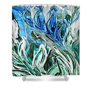 Abstract Floral Sky Reflection Shower Curtain