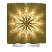 Abstract Flower In Gold And Silver Shower Curtain