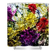 Abstract Flowers Messy Painting Shower Curtain